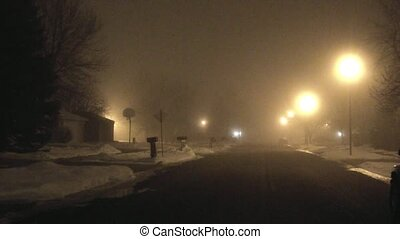 Thick Fog Hovering Over Street - Foggy night on a dead calm...