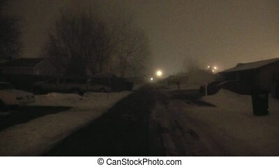 Foggy Alley in Winter at Night
