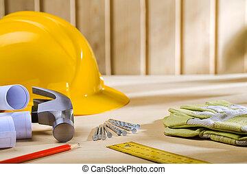 Carpintería, herramientas, de madera, tabla