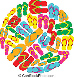 Flip flops circle - Circle made with multicolored flip flops...