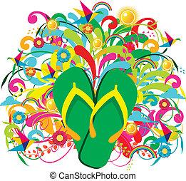 Summer Flip flops over floral background
