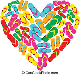 Flip flops in love heart shape - Colorful flip flops in...