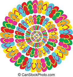 Summer multicolor flip flops mandala - Multicolored flip...