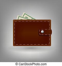 Wallet icon isolated on white background.