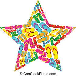 Summer flip flops in star shape