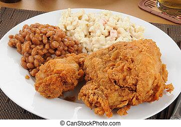 Closeup of a fried chicken dinner