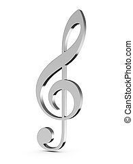 Music key - 3d render of music key on white background