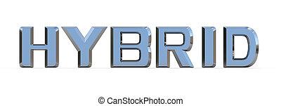 HYBRID - 3d render of HYBRID sign isolated on white...