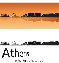 Athens skyline in orange background in editable vector file