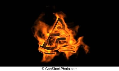 burning fire rowing athlete icon.