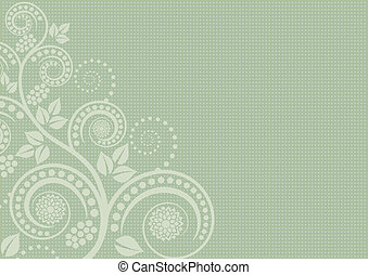pistachio background with floral ornaments