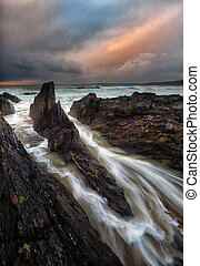 Cornish storms - stormy day in Cornwall, UK