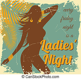 Ladies Night Beach Party - Vintage style illustration of a...