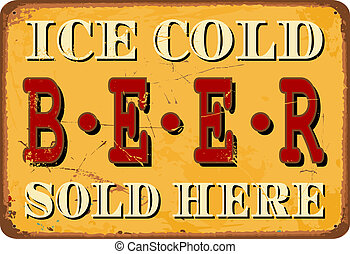 """Vintage Tin Sign - Vintage style tin sign """"Ice Cold Beer""""."""