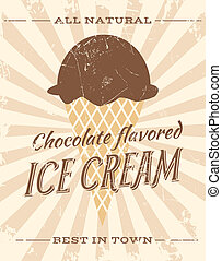 Chocolate Ice Cream - Vintage style illustration of...