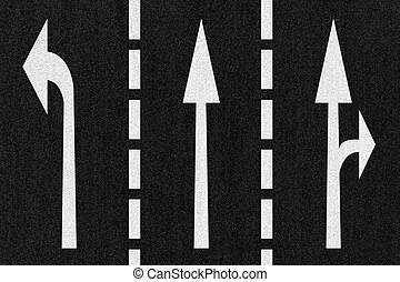Street Road Arrows Direction on Asphalt Texture