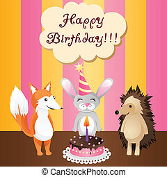 birthday card with cake and animals