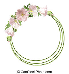 Floral round frame with mallow flowers. Vector background