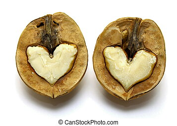 Two nuts with abstract hearts for Valentines Day