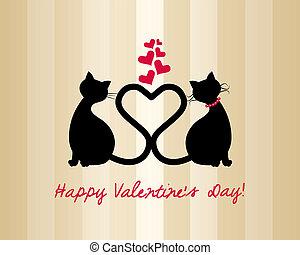 Valentine card with cats in love and pink hearts on striped...