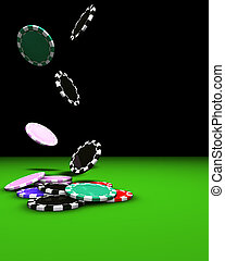 Chips Falling - 3d rendering of colored chips falling on a...