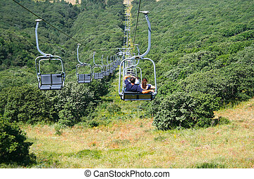 Ropeway in Jermuk - Ropeway in mountain city Jermuk,...