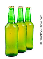 Sweaty bottle of beer Isolated on white background