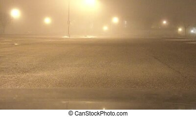 Foggy Winter Parking Lot - Slow drive through a foggy...