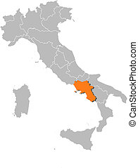Map of Italy, Campania highlighted - Political map of Italy...