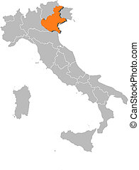 Map of Italy, Veneto highlighted - Political map of Italy...