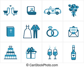 Wedding icon set for your products and projects, easy to edit, resize and colorize
