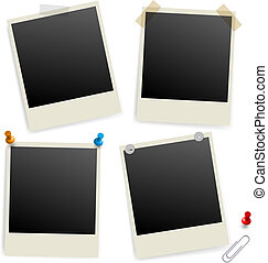 Six empty picture frames Illustration of designer on white...