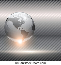 Business background grey metallic with earth globe, vector