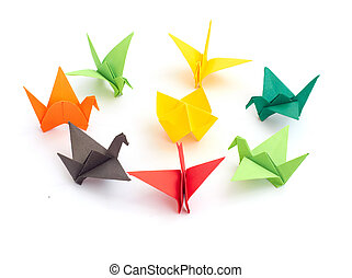 Stock Photo: origami isolated on a whit background