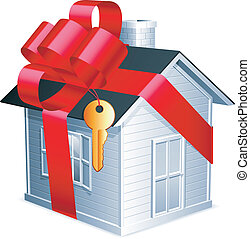 Little house. - Little house with red ribbon and golden key.