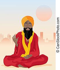 indian sadhu - an illustration of an indian sadhu sat cross...