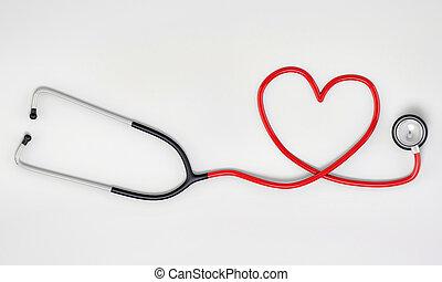 stethoscope heart shape isolated on white background