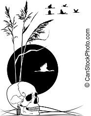 skull, cranes and reed
