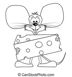 Cartoon mouse with cheese outline for colouring book