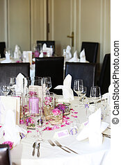 Wedding table with ornamental floral centrepiece - Formal...