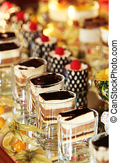 Beautifully served cakes at a luxury event