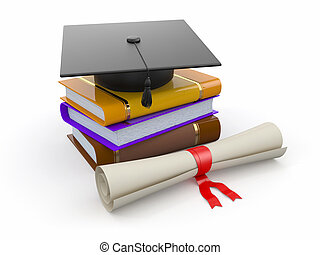 Graduation. Mortarboard, diploma and books. 3d - Graduation....