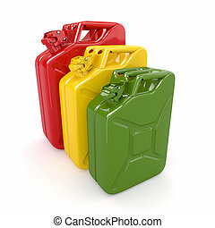 Three canisters Fuel can on white background 3d