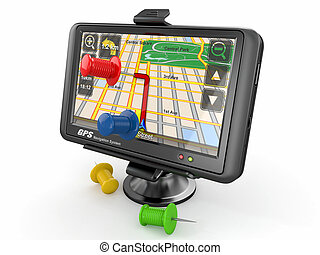 GPS. Global positioning system and thumbtacks. 3d