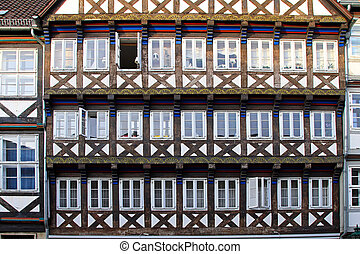 Hannover facade - Traditional wooden building in old...
