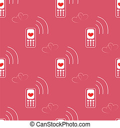 Seamless Pattern made with Mobile Devices with heart