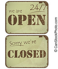 set of grunge signs: open - closed - 24 hours - Set of...