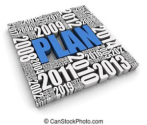 Annual Planning - PLAN 3D text surrounded by calendar dates...