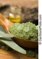 Aloe vera with bath salt and massage oil