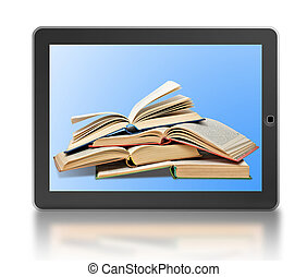 Symbol of digital library and e-reader